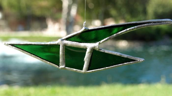 Fast Green Sailing Ship Stained Glass Sun Catcher kn008