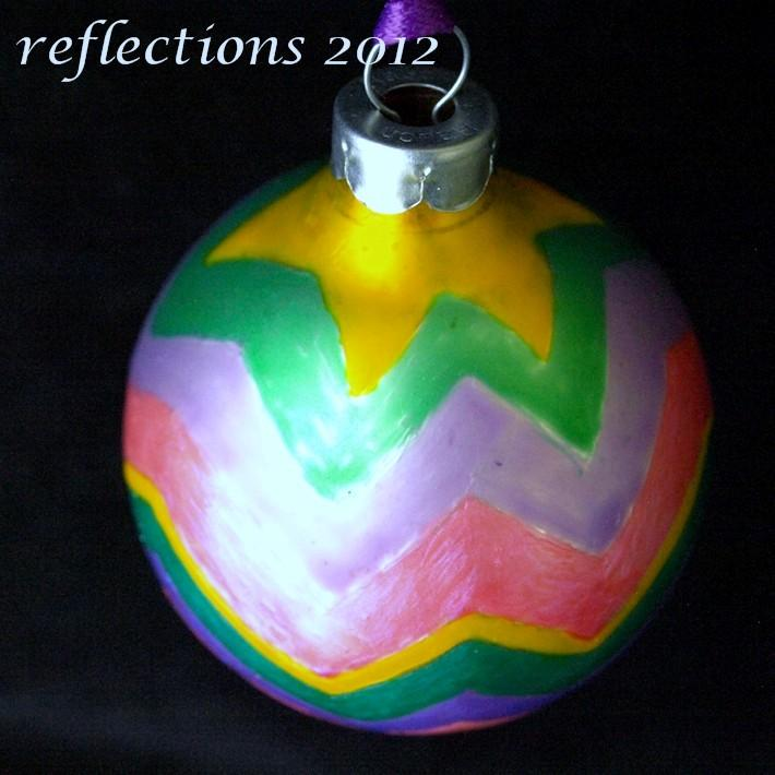 Pastel Star Stripes Hand Painted Ornament go0120
