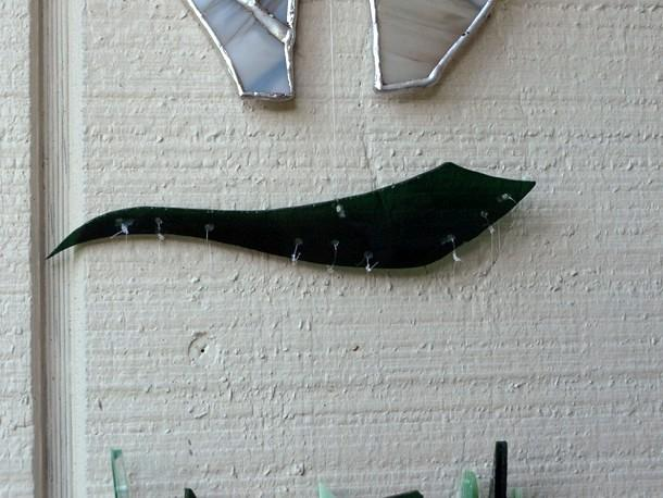 Almost White Black Bear Stained Glass Wind Chime wc0023