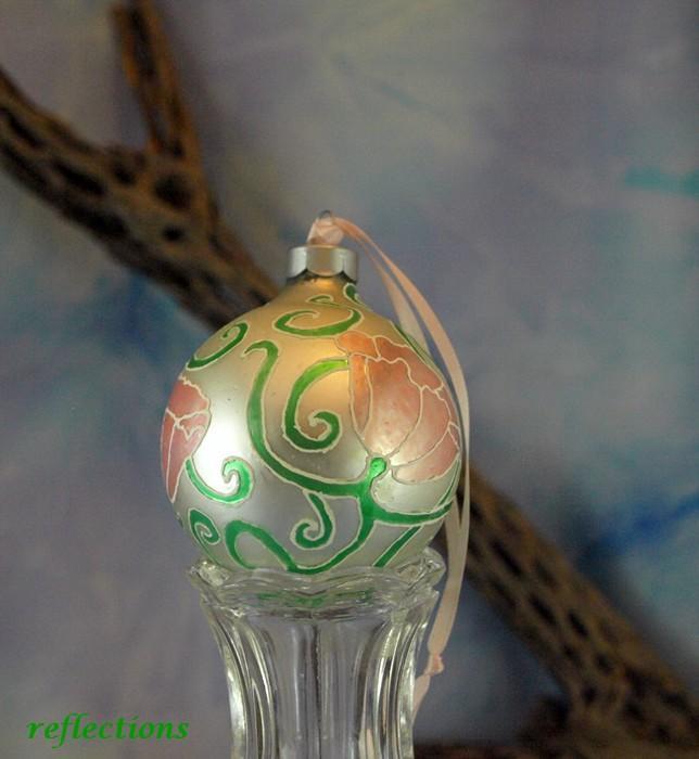 Pink Art Nouveau Flowers Hand Painted Artistic Ornament go0126