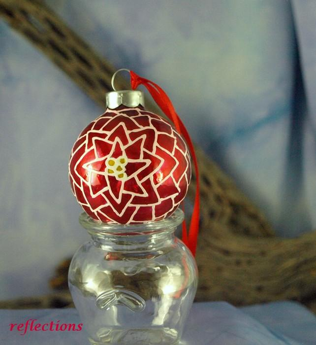 Candy Apple  Red Poinsettia Hand Painted Mini Ornament go0128