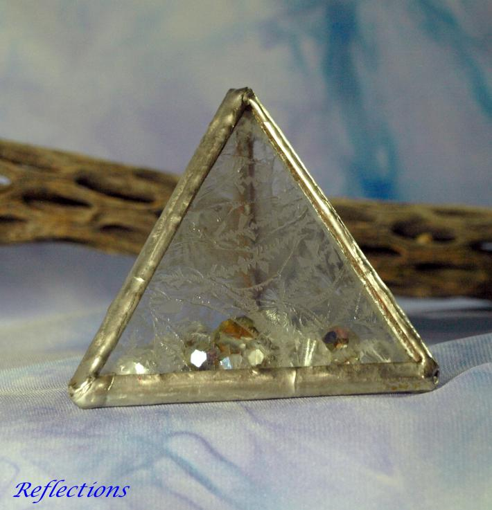 Hand Made Icy Fern Stained Glass Tetrahedron with Crystal Beads