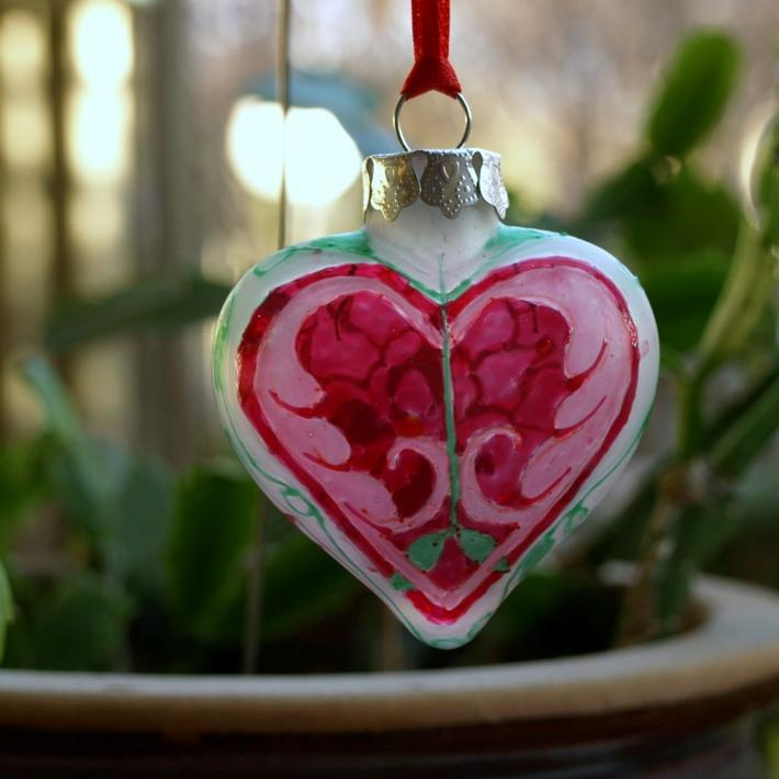 Hand Painted Celtic Tree of Life Glass Heart Ornament