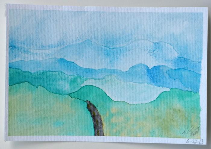 Original Watercolor Landscape Painting  On the Road
