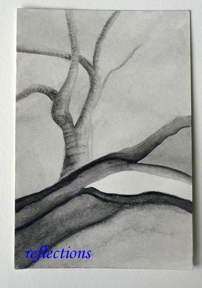 Black and White Original Watercolor Painting Solitude