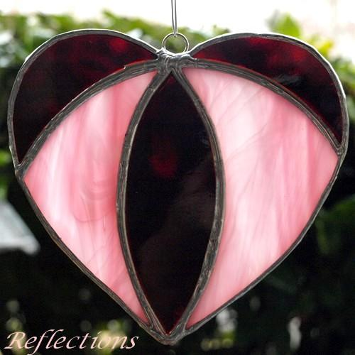 Stained Glass Valentine Pink and Red Heart