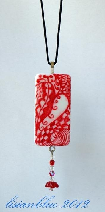 Red and White Heart Domino Pendant Valentine