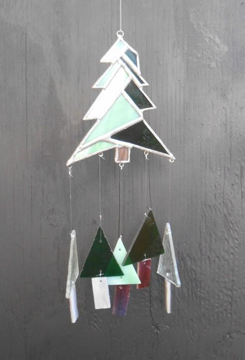 Pine Tree Christmas Tree Stained Glass Windchime