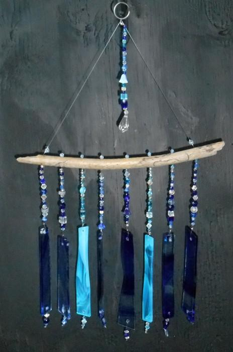 Wood and Blue Bling Stained Glass Windchime