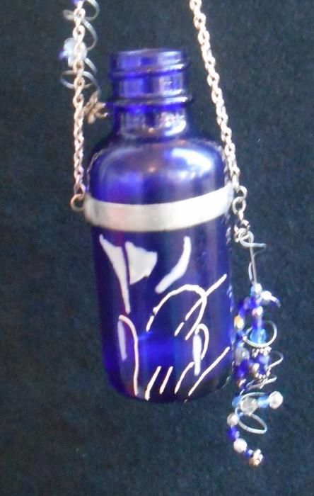 Beaded Cobalt Blue Bottle with white Art Nouveau Flower