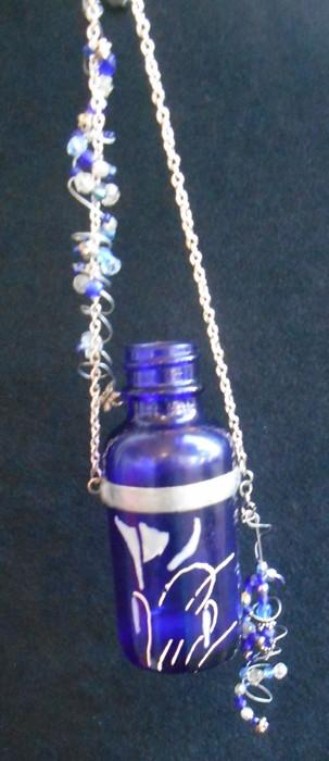 Beaded Cobalt Blue Bottle with white Art Nouveau Flower
