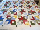 Boxy Stars Quilt Top 61 x 89 Twin Size Multi Colors with White
