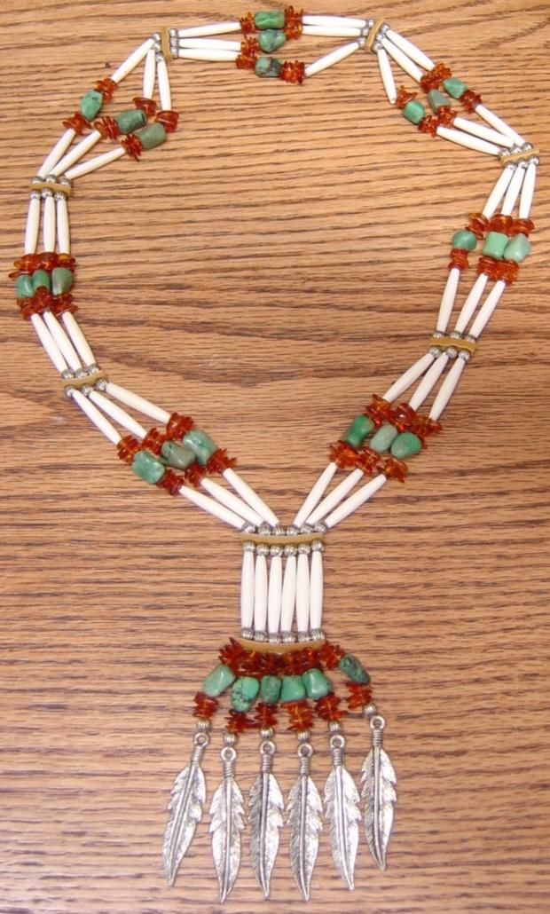 Amber Turquoise and Bone Hairpipe Bandolier Necklace NE56