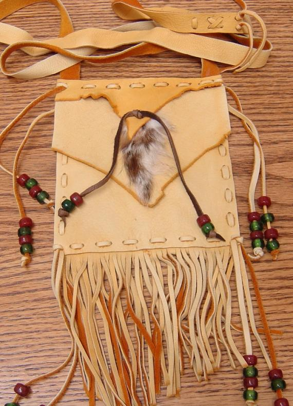 Rabbit and Buckskin Leather Shoulder Bag LG15