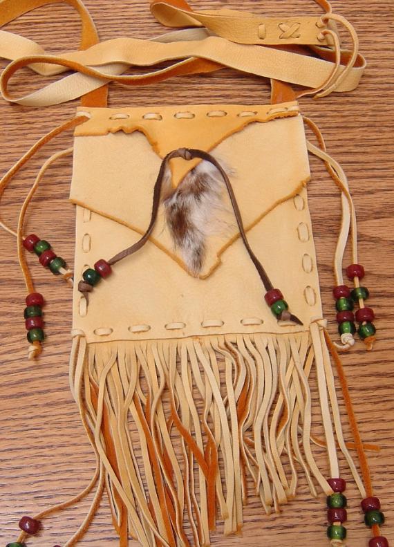 Rabbit and Buckskin Leather Shoulder Bag LG15