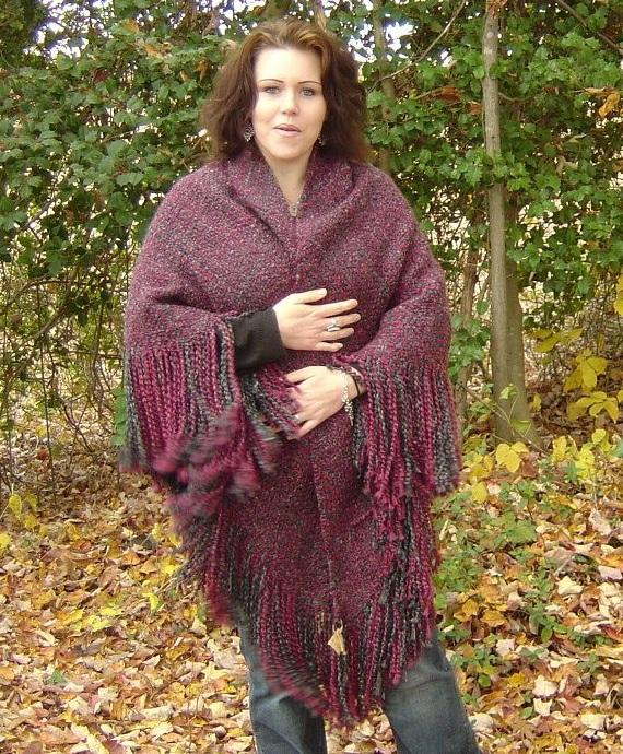 Shawl in Burgundy and Gray Hand Woven SS12