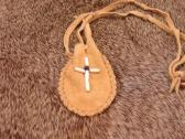 Leather Medicine Bag with Beaded Cross