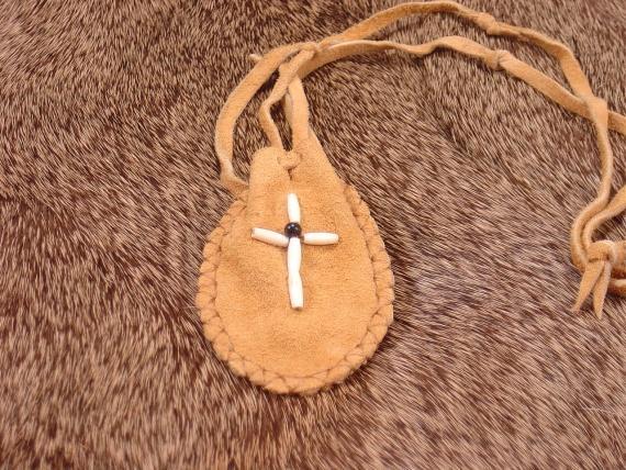 Leather Medicine bag with Beades Cross