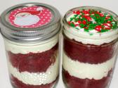 Red Velvet Jar Cakes 2 Jar Pack Holidays Santa Christmas Festive Cream Cheese Party Favors Gift Sweet Edibles
