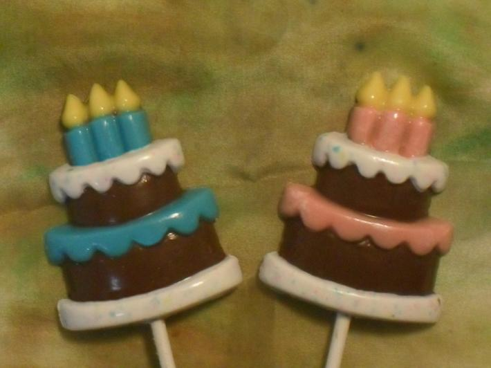 Chocolate Candy Birthday Cake Pink and Blue Lollipops