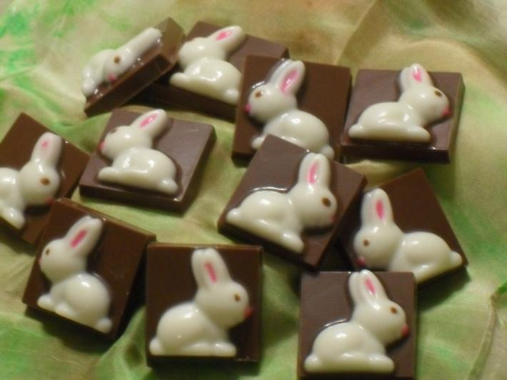 White Chocolate Bunny on A Milk Chocolate Box