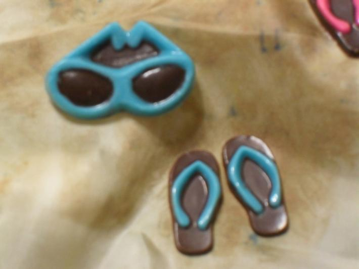 Dark Chocolate Sunglasses and Flip Flops