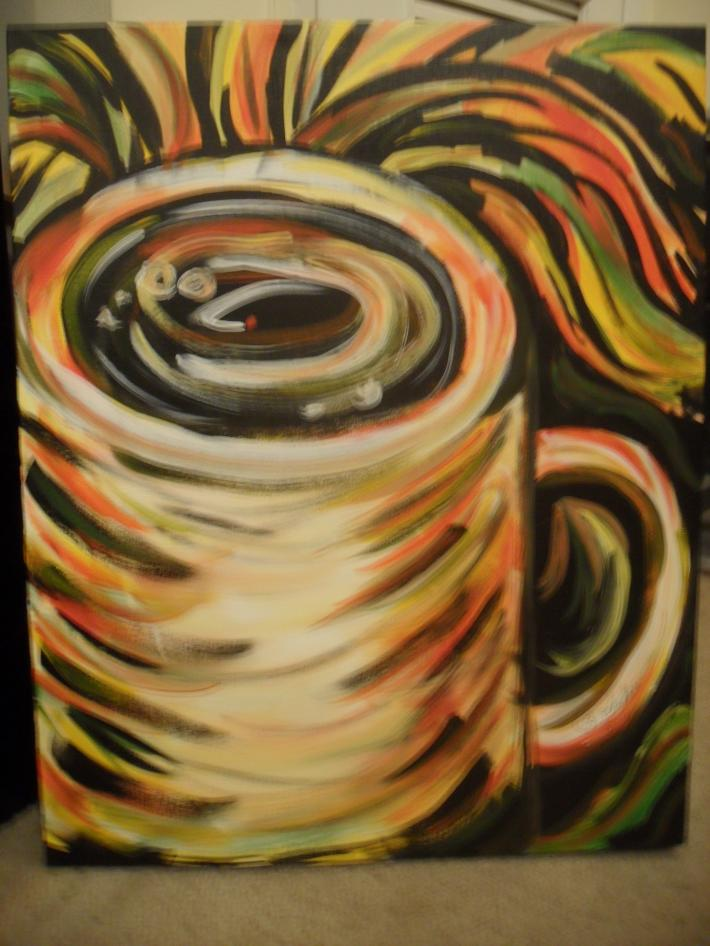 Acrylic Painting Cup of Cuppaccino