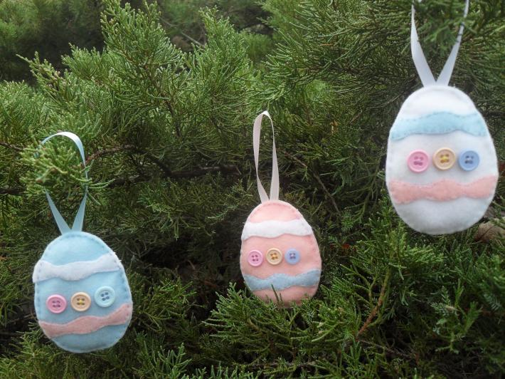 3 Handmade Easter Egg Basket and Tree Ornaments