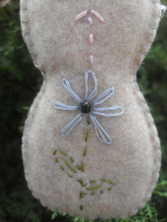 Homemade Bunny with Flower Easter ornament and Home Decor