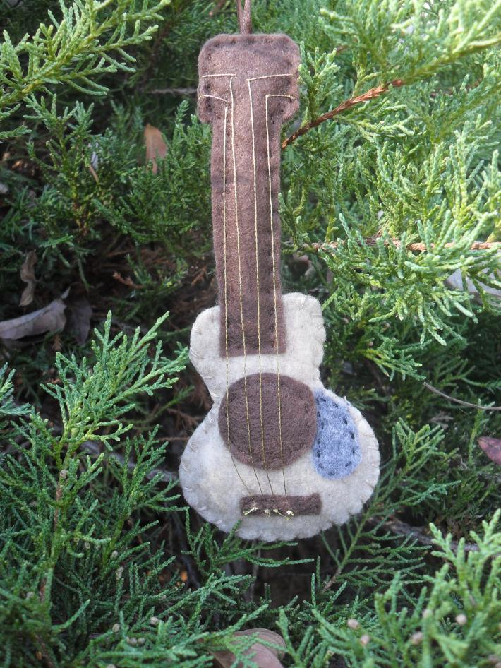 Handmade Felt Acoustic Guitar Tree and Gift Ornament