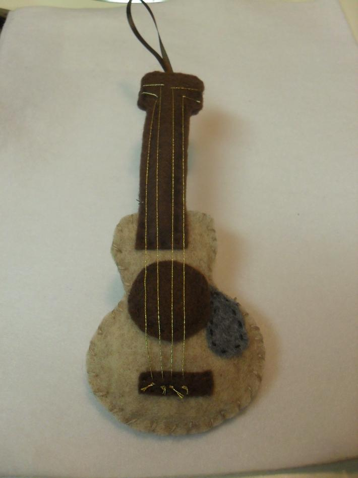 Handmade Felt Acoustic Guitar Tree and Gift Ornament