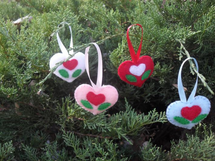 4 Handmade Puffed  heart Tree and Gift Ornaments