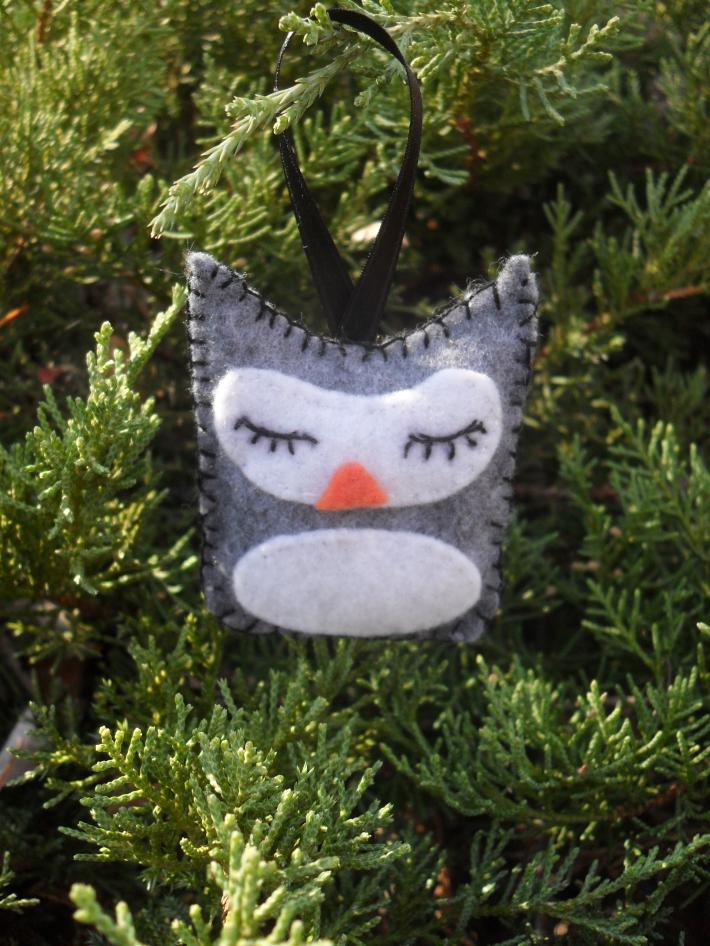 Handmade Grey Sleeping Owl Tree and Gift Ornament