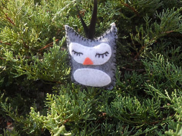 Handmade Grey Sleeping Owl Tree and Gift Ornament
