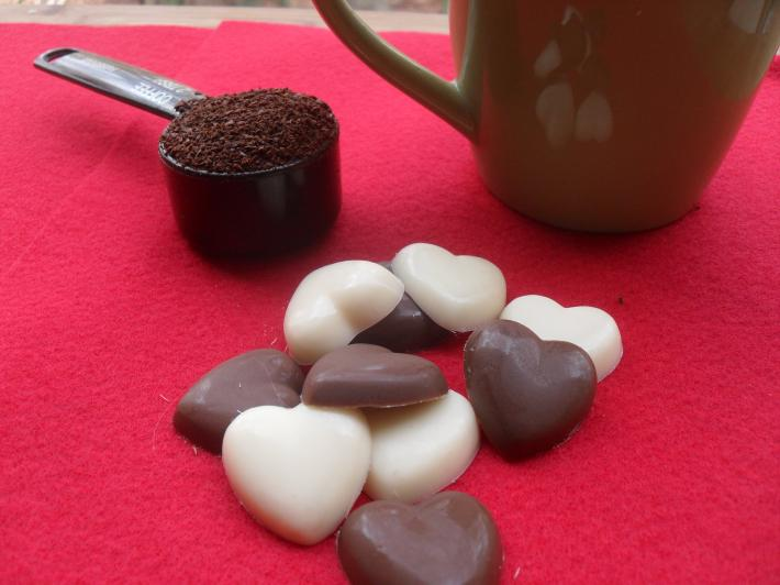 Milk Chocolate and  White Chocolate Heart Coffee Drops