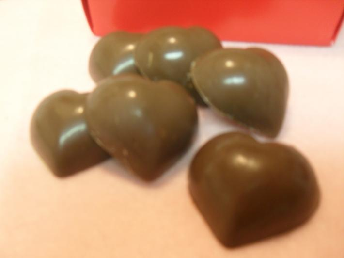 6 Peanut Butter Filled Chocolate Hearts