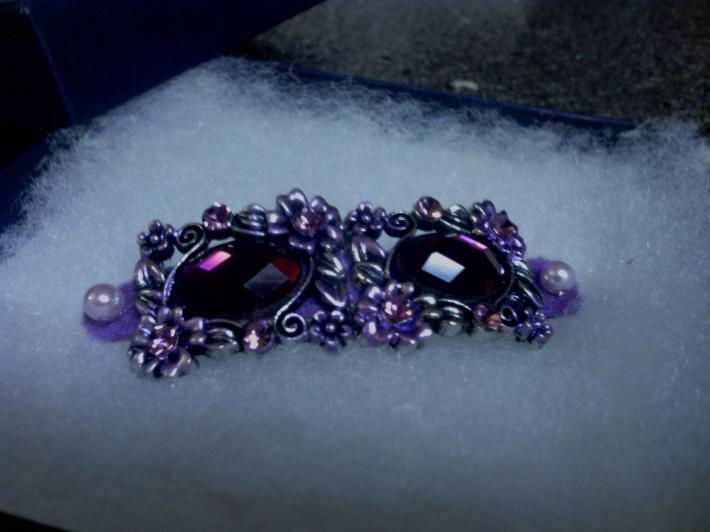 Handmade Purple Stone and Metal Flower Barrette with Faux Lavender Pearls
