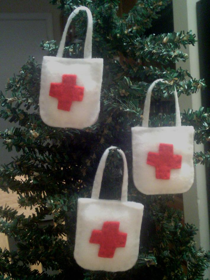 First Aid Tote Bag Tree Ornaments Set of 3