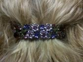 Vintage Style Purple Studded Flower Barrrette