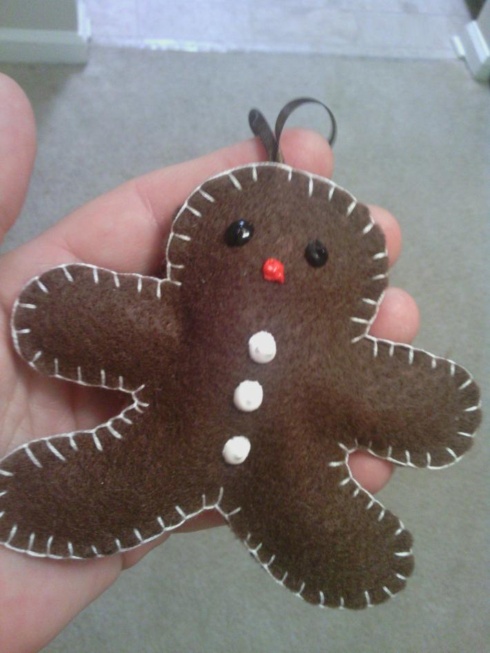 Handmade and Hand Stitched Gingerbread Man Tree Ornament