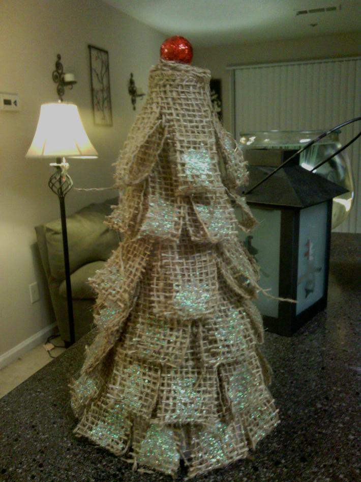 Homemade 10 Inch High Burlap Christmas Tree with Red Ball on Top