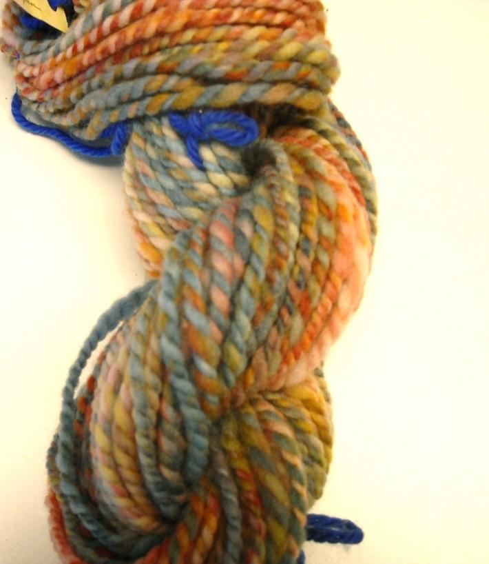 Rainbow dyed New Zealand Wool Yarn 48yds