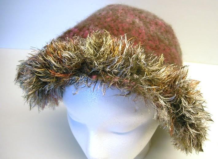 Felted Wool Hat from Pink and Brown Handspun
