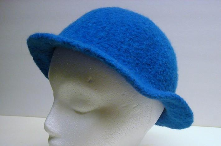 Bright Blue Cloche Style Felted Wool Hat