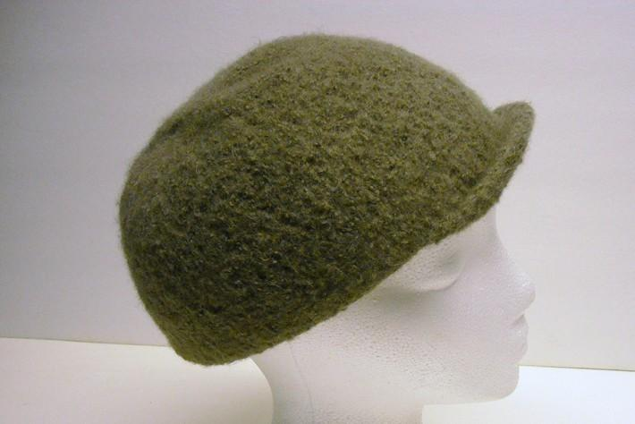 Felted Wool Hat Helmet Style with Narrow Bill