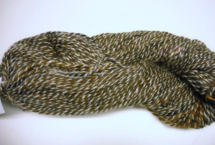 176yds 2ply Wool and Mohair Handspun Chipmunk and White
