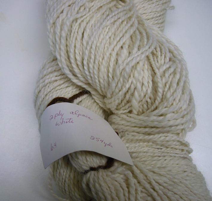 254yds 2ply White Alpaca Handspun Yarn