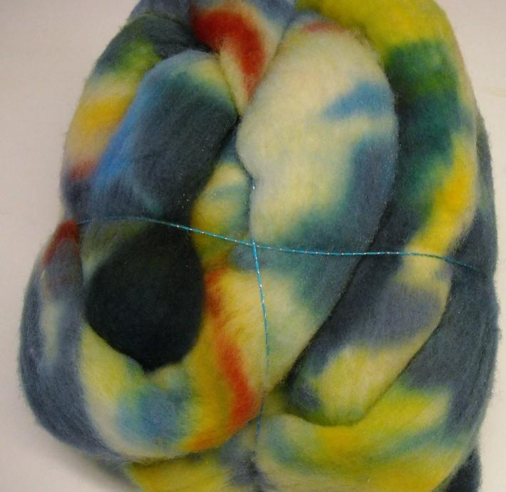 New Zealand Wool Roving Rainbow Dyed 4oz