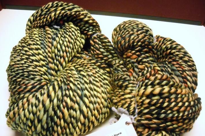 Brighter Rainbow Dyed and Black Merino Wool Hand Spun Yarn