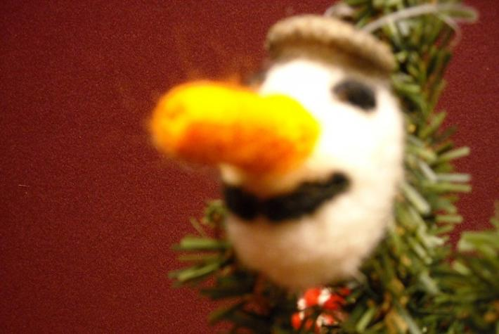 Snowman Wool and Acorn Christmas Ornament